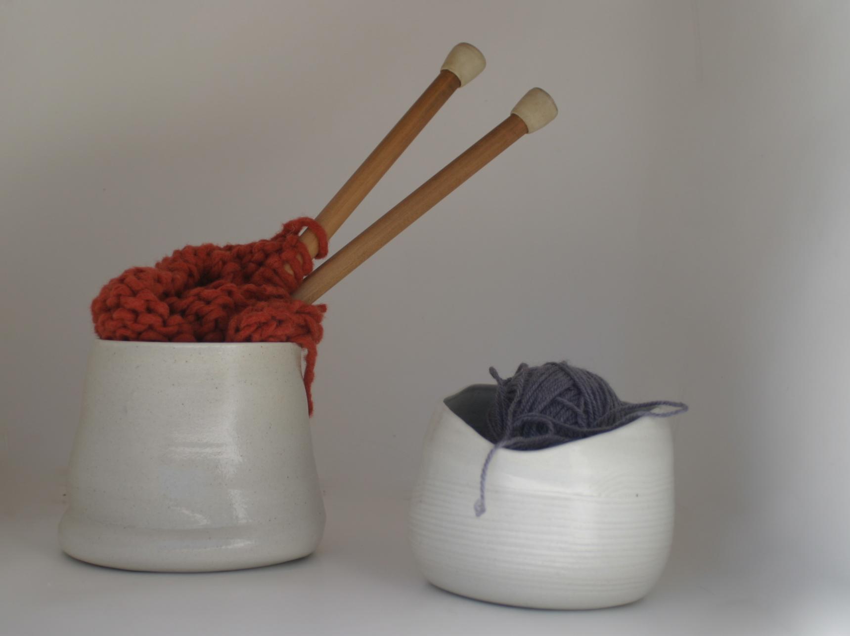 White Yarn Buckets