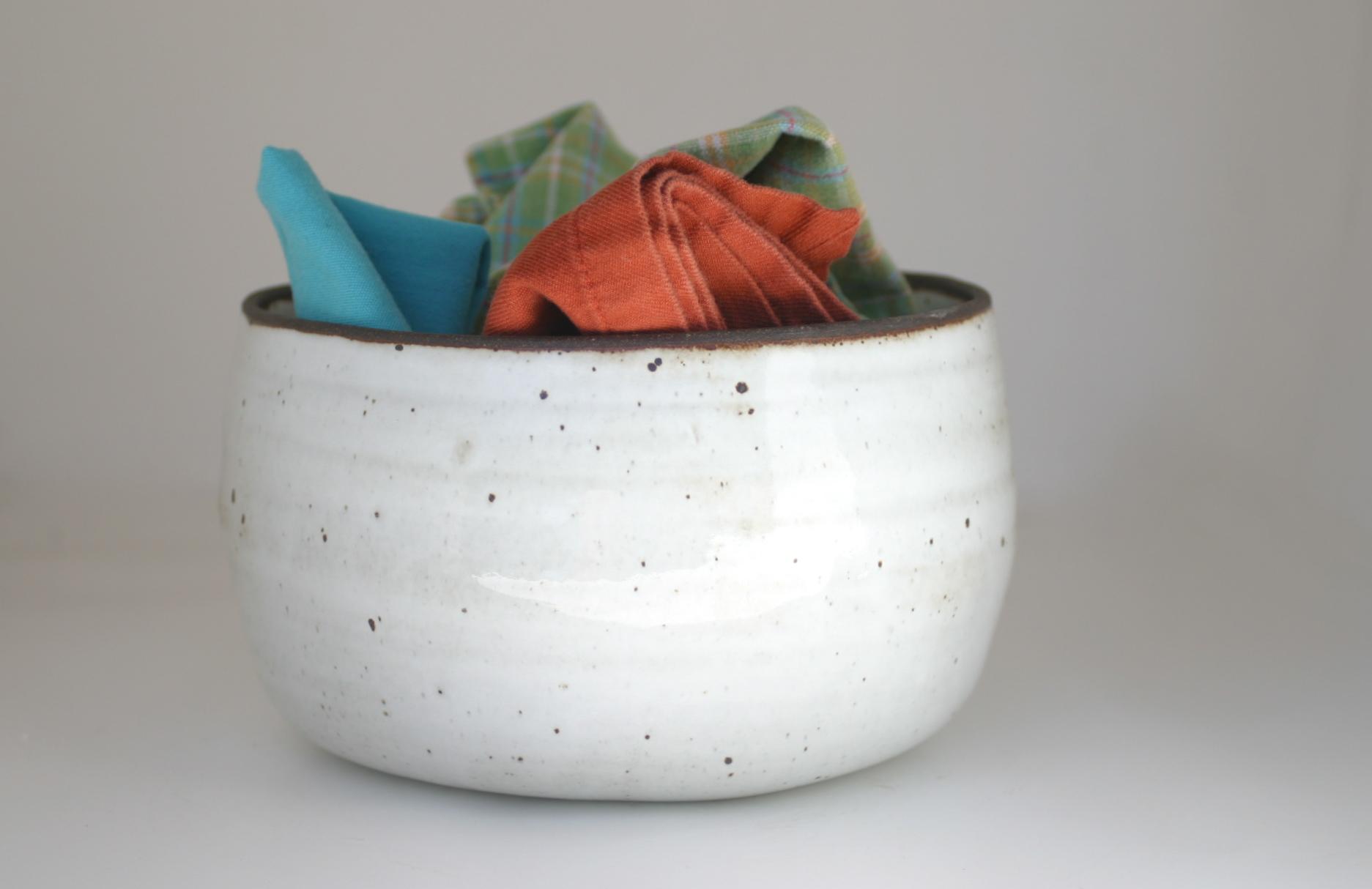 Gloss White -Glazed on Bottom- Dining Room Bucket